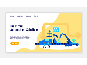 Industrial automation solutions landing page flat color vector template preview picture