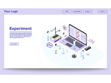 Genetic engineering isometric website template preview picture