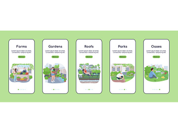 City green zones onboarding mobile app screen flat vector template preview picture