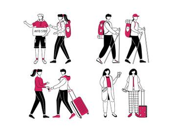 Budget tourism flat contour vector illustration set preview picture