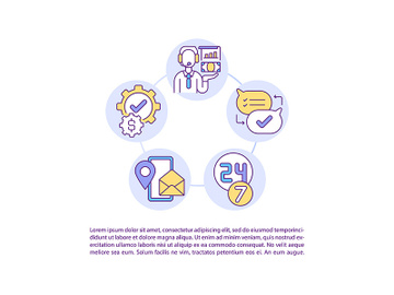 Client support concept line icons with text preview picture