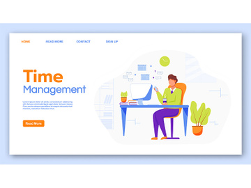 Time management landing page vector template preview picture