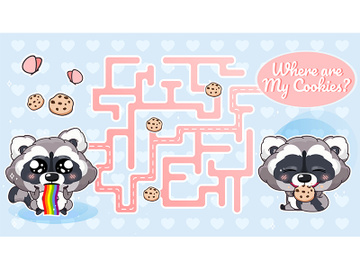 Where are my cookies labyrinth with cartoon character template preview picture