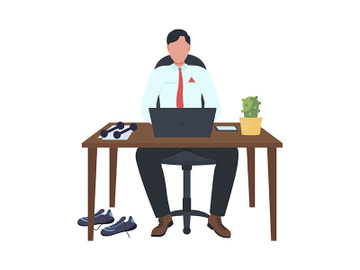 Desk-based employee with dumbbells semi flat color vector character preview picture