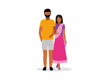 Married couple semi flat color vector characters preview picture