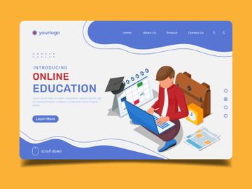 Online Education with Male character - Lading Page Illustration Template preview picture