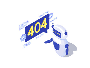 Server not found automated message generation isometric illustration preview picture