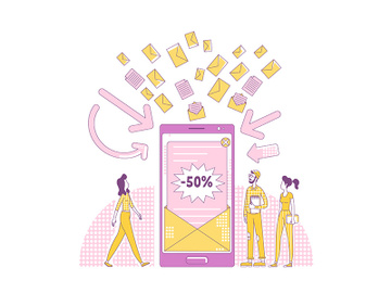Email marketing thin line concept vector illustration preview picture