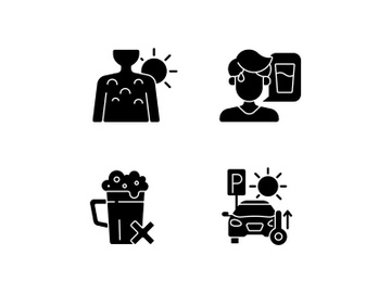 Sunstroke precaution black glyph icons set on white space preview picture