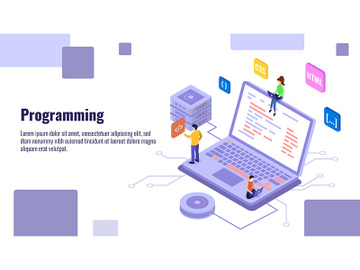 Programming isometric banner vector template preview picture