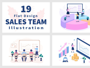 19 Sales Team with Financial Business Vector Illustration preview picture