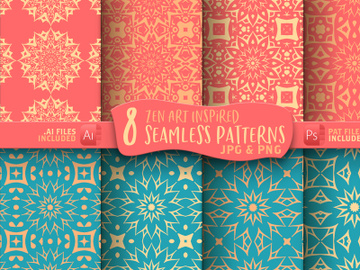 Mandala Seamless Digital Paper Patterns Graphic preview picture