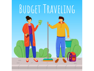 Budget travelling social media post mockup preview picture