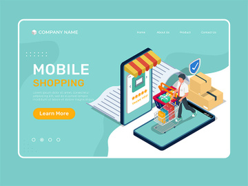 Isometric mobile shopping - landing page illustration template preview picture
