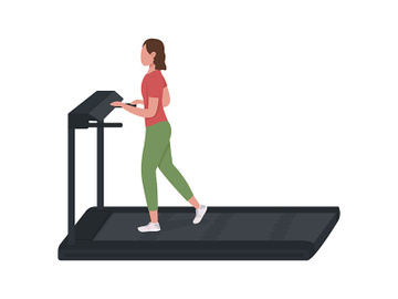 Girl running on treadmill semi flat color vector character preview picture