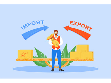 Import and export taxes flat concept vector illustration preview picture