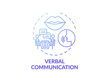 Verbal communication dark blue gradient concept icon preview picture