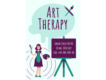 Art therapy poster flat vector template preview picture