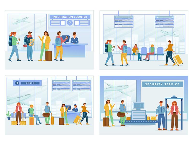 Airport zones flat vector illustrations set