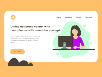 Online assistant woman with headphones with computer concept. preview picture