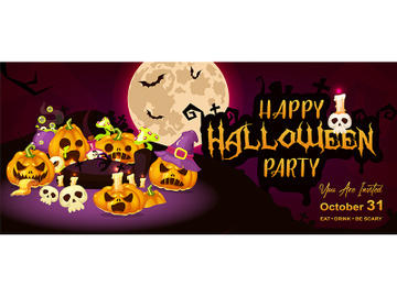 Happy halloween event flat banner template preview picture