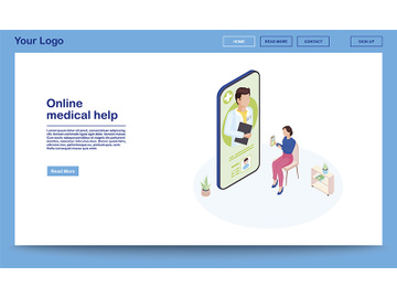 Online medical help isometric webpage template preview picture