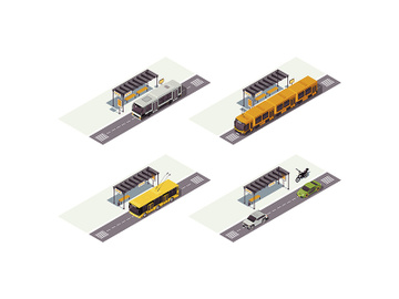 City transport isometric color vector illustration preview picture