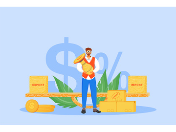 Import and export tariffs flat concept vector illustration preview picture