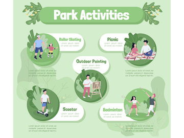 Park activities flat color vector informational infographic template preview picture