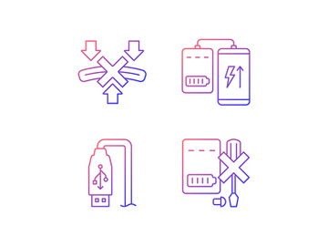 Powerbank proper use gradient linear vector manual label icons set preview picture