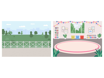Playroom and recreation spot flat color vector illustration set preview picture