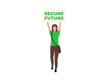 Girl holding secure future poster semi flat color vector character preview picture