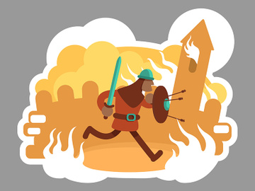 Warrior 2D vector web banner, poster preview picture