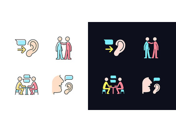 Verbal and nonverbal communication light and dark theme RGB color icons set preview picture