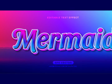 Mermaid editable text effect style vector preview picture