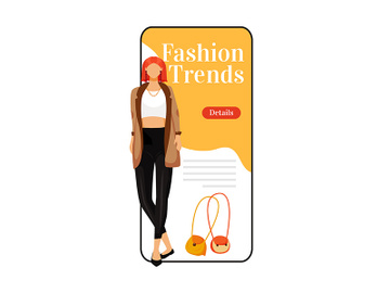 Fashion trends cartoon smartphone vector app screen preview picture