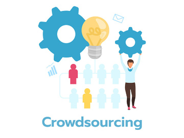 Crowdsourcing flat vector illustration preview picture