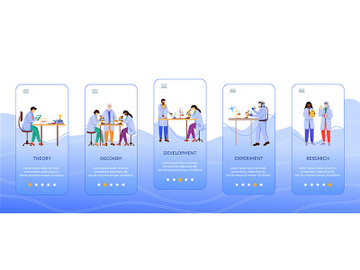 Methods of scientific research onboarding mobile app screen vector template preview picture