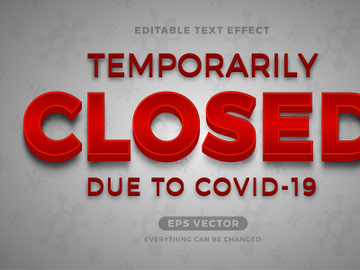 Temporary Closed editable text effect vector preview picture