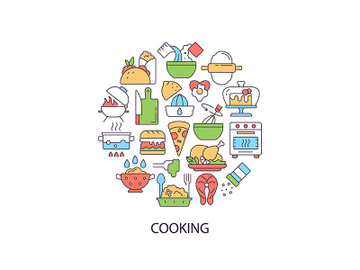 Cooking abstract color concept layout with headline preview picture