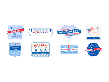 American Veterans Day flat color vector badges set preview picture