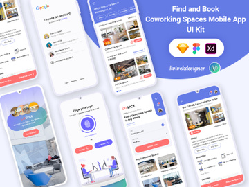 Find and Booking Coworking spaces Mobile App UI Kit preview picture