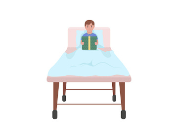 Sick child with gift in hospital semi flat color vector character preview picture