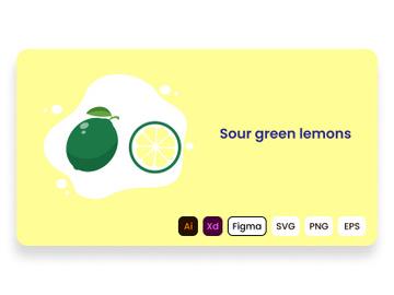 Sour green lemons. Lemon fruit. preview picture