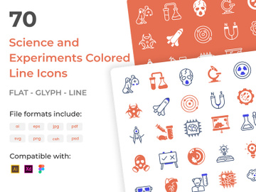 70 Set of Science Experiments Colored Vectors Icons preview picture