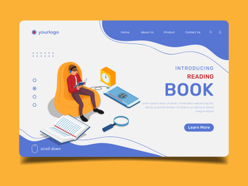 Reading Book - Landing Page Illustration Template preview picture