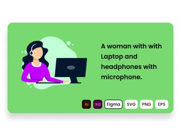 A woman with with laptop and headphones with microphone. preview picture