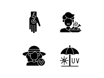 Sunstroke and sunburn black glyph icons set on white space preview picture