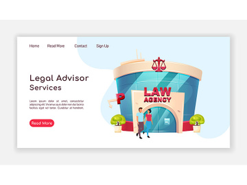 Legal advisor services landing page flat color vector template preview picture