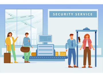 Airport security service flat vector illustration preview picture